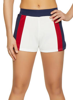 Color Blocked Scuba Knit Shorts - 1413072295208