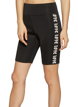 Love Graphic Scuba Knit Bike Shorts - 1413072298013