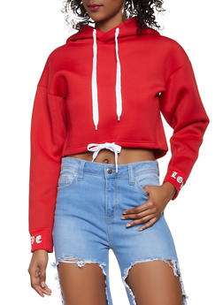 Love Graphic Drawstring Waist Hooded Sweatshirt - 1413072298014