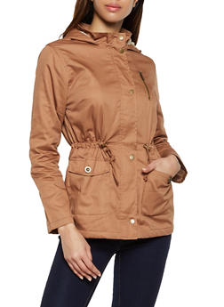 Faux Fur Lined Anorak Jacket - 1414038201085