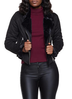 Faux Suede Zip Moto Jacket - 1414038204014