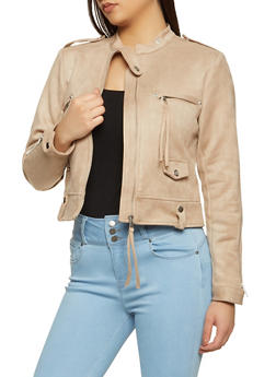 Faux Suede Zip Front Jacket - 1414038204032
