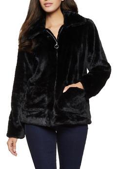 Faux Fur Zip Front Jacket - 1414038204045