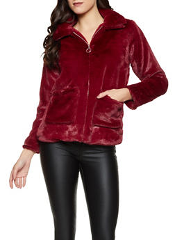 Faux Fur Zip Front Jacket - 1414038204045