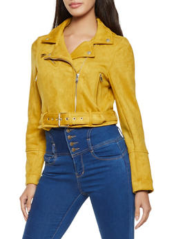 Belted Faux Suede Moto Jacket - 1414038204060