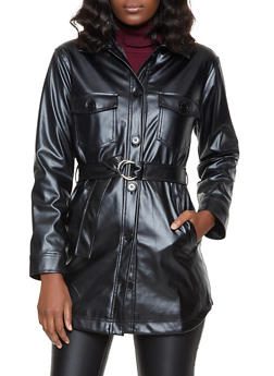 Belted Faux Leather Button Front Jacket - 1414038204067