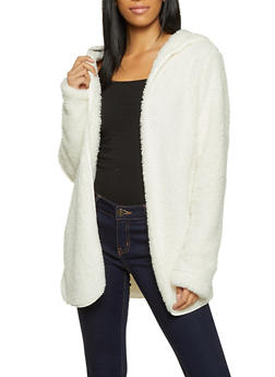Hooded Open Front Sherpa Jacket - 1414054210002
