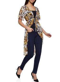 Leopard Print Tie Front Duster - 1414054211217