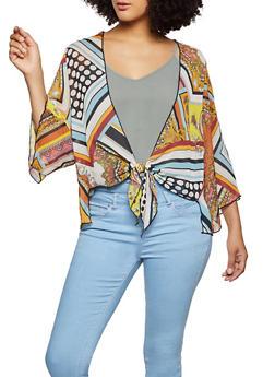 Printed Tie Front Kimono - 1414054211222