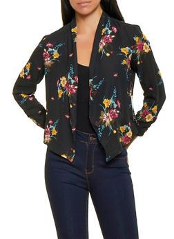 Floral Chiffon Blazer - 1414054214335