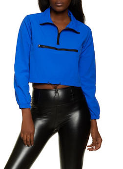 Cropped Half Zip Windbreaker Jacket - 1414054215004