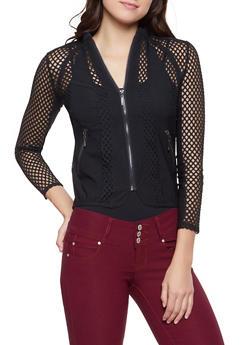 Mesh Insert Zip Front Jacket - 1414062702552