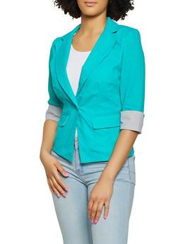 Striped Cuff Linen Blazer - 1414062702553