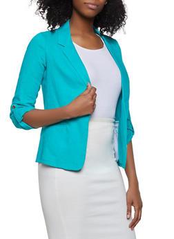 Ruched Sleeve Linen Blazer - 1414062702554