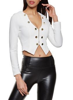 Textured Knit Zip Sailor Blazer - 1414062702965