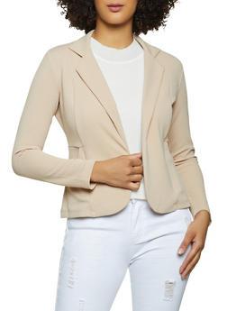 Textured Knit Blazer - 1414062703017