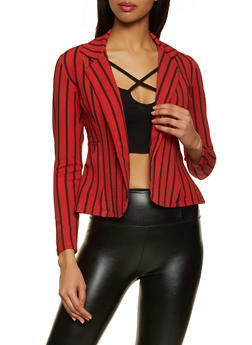 Striped Crepe Knit Blazer - 1414062703018