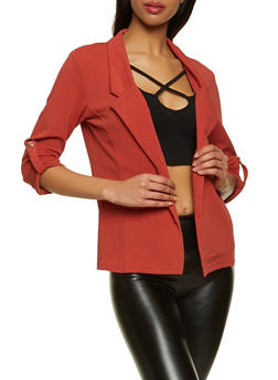 Crepe Knit Tabbed Button Sleeve Blazer - 1414062703019
