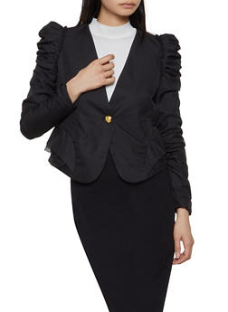 Pleated Ruched Sleeve Blazer - 1414062703029