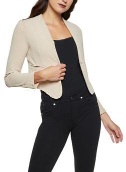 Textured Knit Solid Blazer - 1414062703237