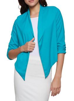 Ruched Sleeve Flyaway Blazer - 1414062703933