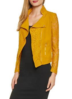 Asymmetrical Lace Insert Blazer - 1414062703937