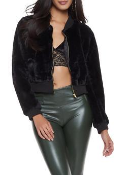 Faux Fur Bomber Jacket - 1414062704041