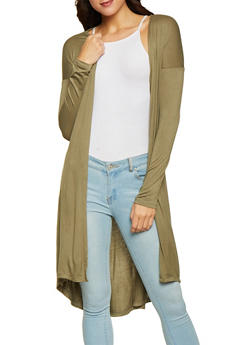 Solid Long Cardigan - 1414062705682
