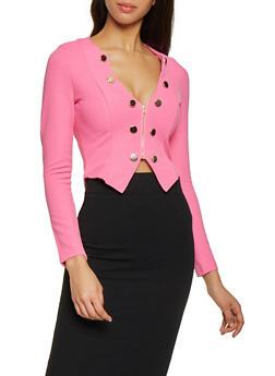 Metallic Button Zip Front Blazer - 1414062706529