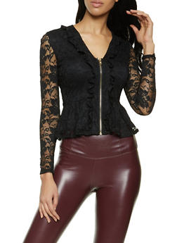 Ruffled Lace Peplum Top - 1414062706730