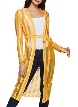 Shadow Stripe Tie Waist Duster - 1414062707099