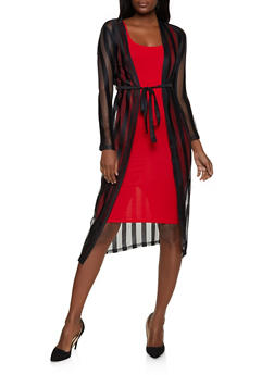 Shadow Stripe Belted Mesh Duster - 1414062709971