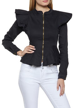 Ruffled Peplum Jacket - 1414063403307