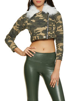 Faux Fur Collar Camo Cropped Denim Jacket - 1414063407946