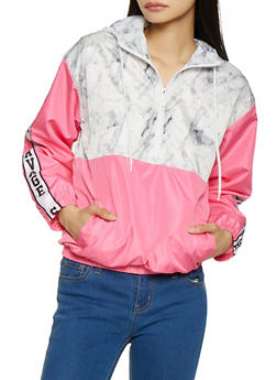 Savage Graphic Tape Pull Over Windbreaker - 1414063408675