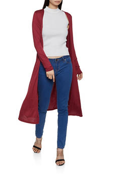 Long Sleeve Soft Knit Duster - 1414066491166