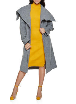 Basic Tie Waist Wrap Coat - 1414068192408