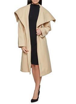 Basic Tie Waist Wrap Coat - 1414068192408