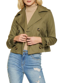 Short Trench Coat - OLIVE - 1414068193247