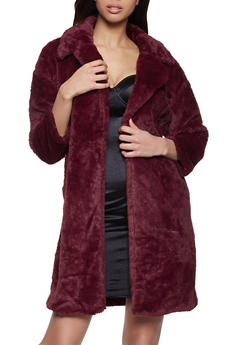 Long Open Front Faux Fur Jacket - 1414068193442