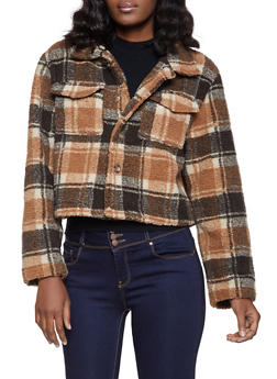 Plaid Button Front Sherpa Jacket - 1414068193449