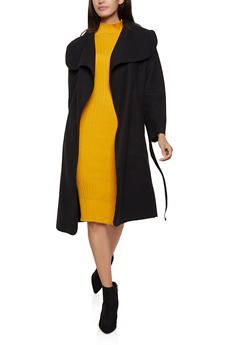 Solid Wrap Coat - 1414068193458