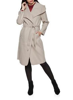 Solid Wrap Coat - 1414068193458