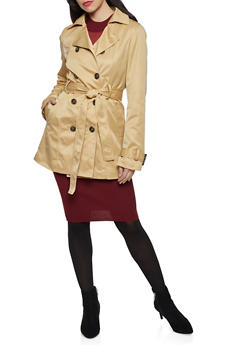 Faux Fur Lined Trench Coat - 1414068193550