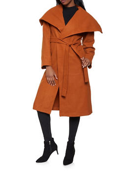 Belted Wrap Coat - 1414068198042