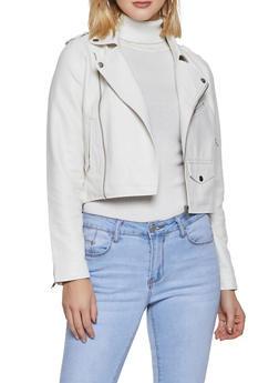 Faux Leather Moto Jacket - 1414068198860