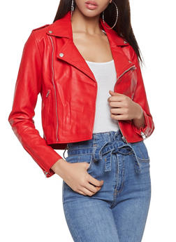 Faux Leather Zipper Detail Moto Jacket - 1414068198860