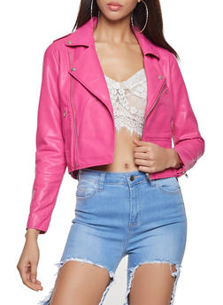 Faux Leather Moto Jacket - 1414068198860