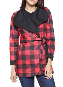 Plaid Tie Waist Trench Coat - 1414068198861