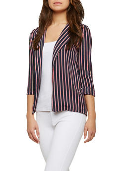 Striped Crepe Knit Blazer - 1414068511675